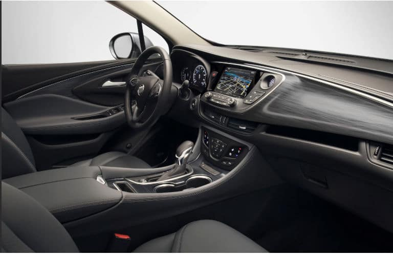 2020 Envision interior front cabin steering wheel and dashboard side view