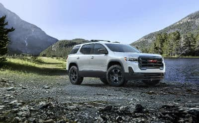 2020 GMC Acadia AT4 exterior front fascia and passenger side