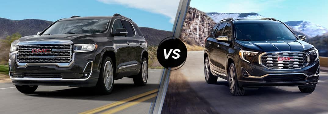 2020 GMC Acadia exterior front fascia and driver side vs 2020 GMC Terrain exterior front fascia and passenger side