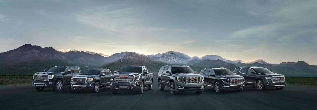 2020 GMC Family exterior front fascias in front of mountains
