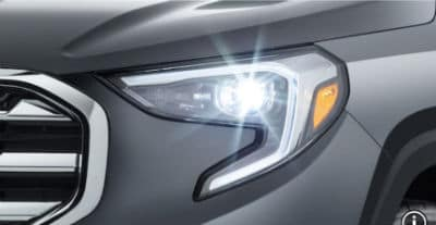 2020 GMC Terrain exterior front fascia close up of driver side headlight