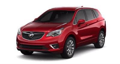 Chili Red Metallic 2020 Buick Envision exterior front fascia and driver side on blank background
