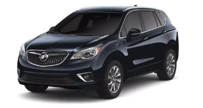 Dark Blue Moon Metallic 2020 Buick Envision exterior front fascia and driver side on blank backgrond