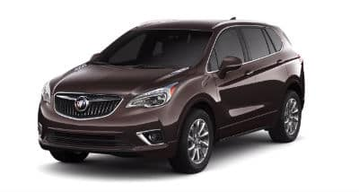 Espresso Metallic 2020 Buick Envision exterior front fascia and driver side on blank background