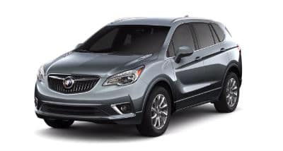 Satin Steel Metallic 2020 Buick Envision exterior front fascia and driver side on blank background