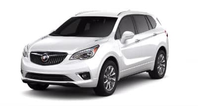 Summit White Metallic 2020 Buick Envision exterior front fascia and driver side on blank background