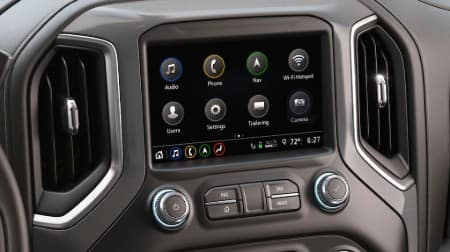Close up of the touchscreen infotainment system inside the 2019 GMC Sierra