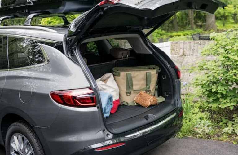 2020 Buick Enclave rear cargo area with raised liftgate