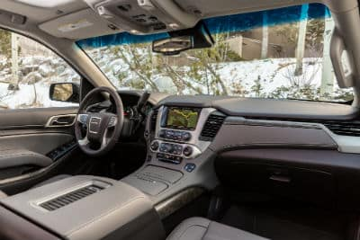 2019 GMC Yukon Denali slanted view steering wheel and dashboard