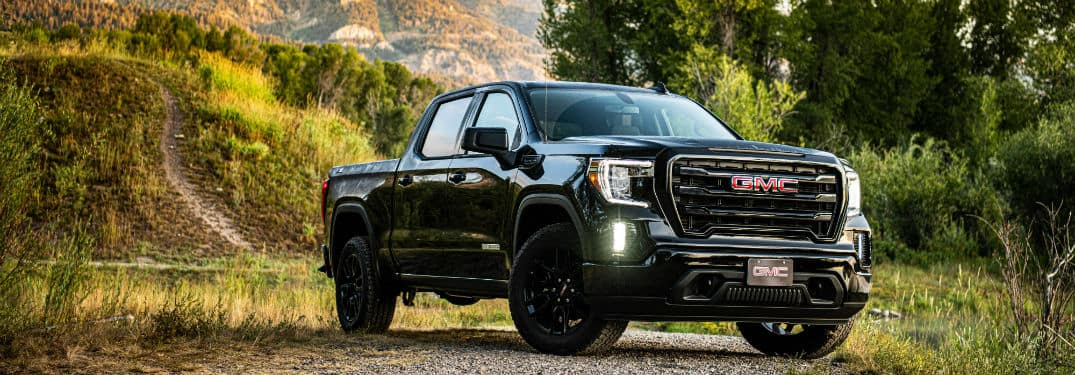 2020 GMC Sierra Elevation exterior front fascia and passenger side in front of tree grassy hill