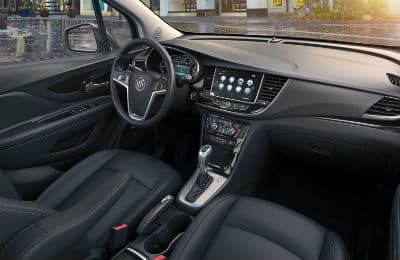 2020-Buick-Encore interior front cabin steering wheel and dashboard