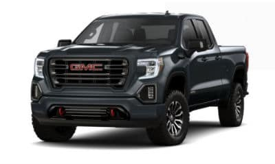Carbon Black Metallic 2020 GMC 1500 exterior front fascia driver side blank background