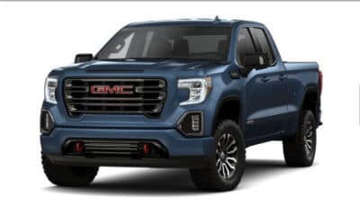 Pacific Blue Metallic 2020 GMC 1500 exterior front fascia driver side blank background