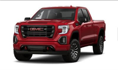 Red Quartz Tintcoat 2020 GMC 1500 exterior front fascia driver side blank background