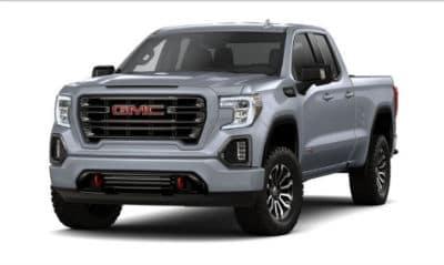 Satin Steel Metallic 2020 GMC 1500 exterior front fascia driver side blank background