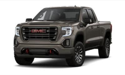 Smoky Quarts Metallic 2020 GMC 1500 exterior front fascia driver side blank background