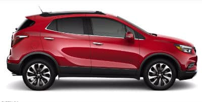 2020 Buick Encore Exterior Passenger Side Profile in Winterberry Red Metallic