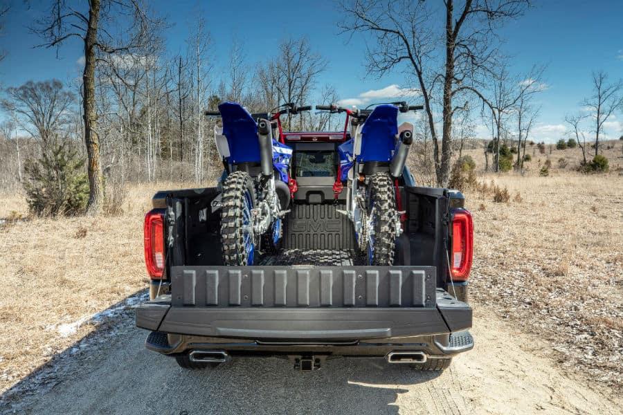 2019 GMC Sierra Denali CarbonPro Edition Exterior Rear Truck Bed with Dirt Bikes