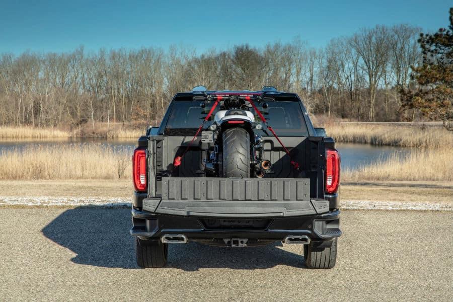 2019 GMC Sierra Denali CarbonPro Edition Exterior Rear Truck Bed with Street Bike