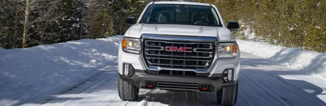 2021 GMC Canyon AT4 Exterior Front Fascia in Snow