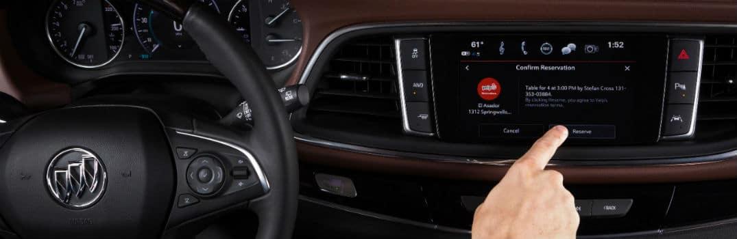 Buick Infotainment System Yelp Screen with Hand