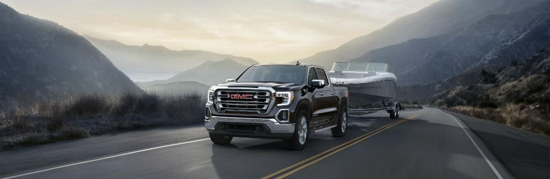 2020 GMC Sierra 1500 Denali Exterior Driver Side Front Profile while Towing