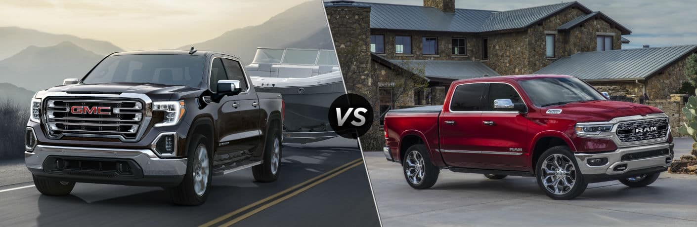 2020 GMC Sierra 1500 Exterior Driver Side Front Profile vs 2020 RAM 1500 Exterior Passenger Side Front Profile