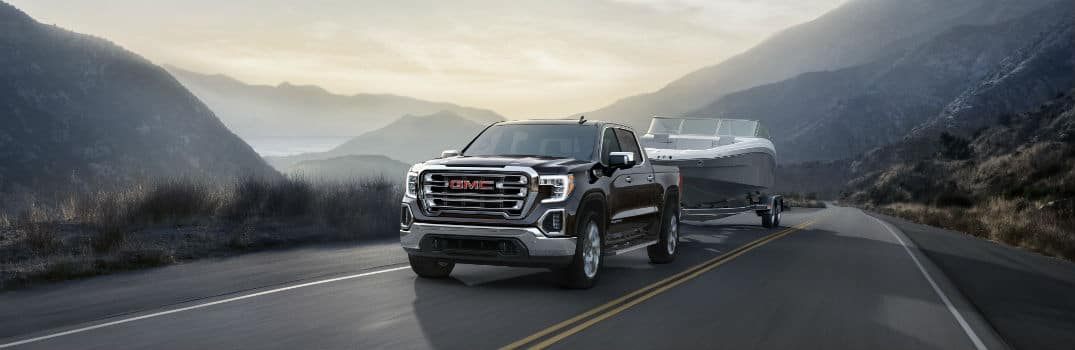 2020 GMC Sierra 1500 SLT Exterior Driver Side Front Angle while Towing