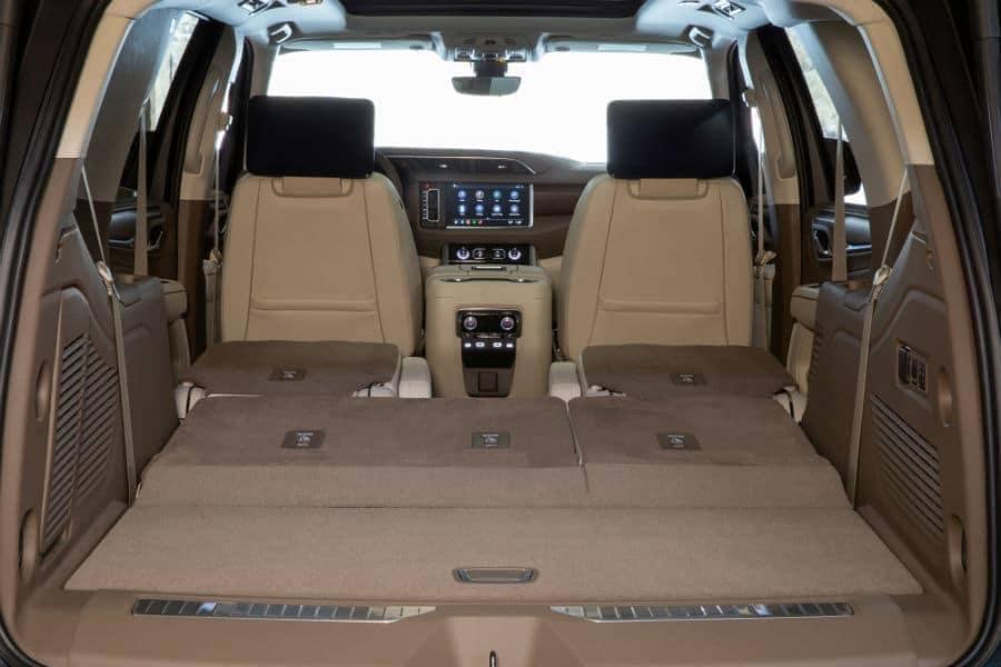 2021 GMC Yukon Denali Interior Cabin Seats Folded Flat