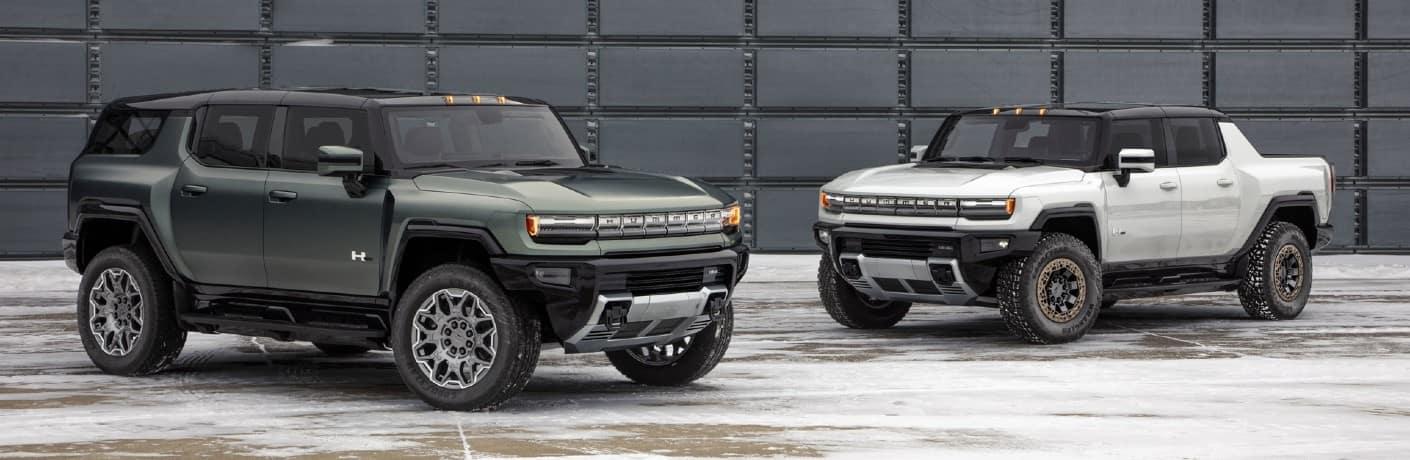 2024 GMC HUMMER EV SUV Exterior Passenger Side & 2022 Pickup Truck Driver Front Profiles
