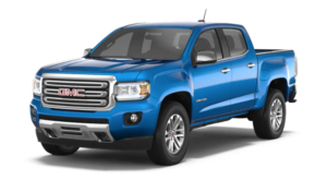 Blue 2019 GMC Canyon on white