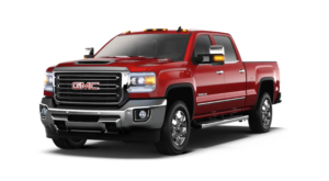 Red 2019 GMC Sierra 3500HD on white