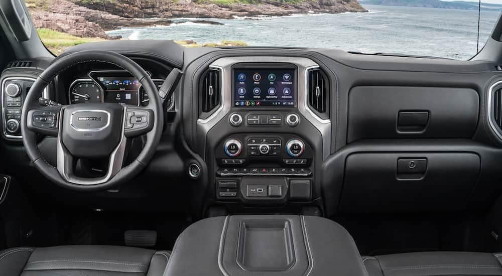The hight tech black interior of the latest GMC models
