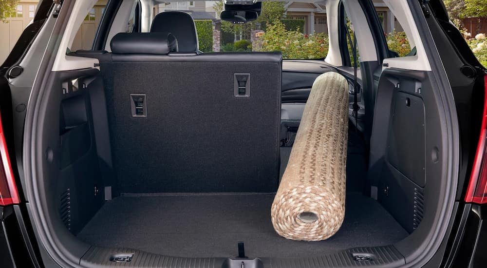 A rug in the back of a 2019 Buick Encore cargo area