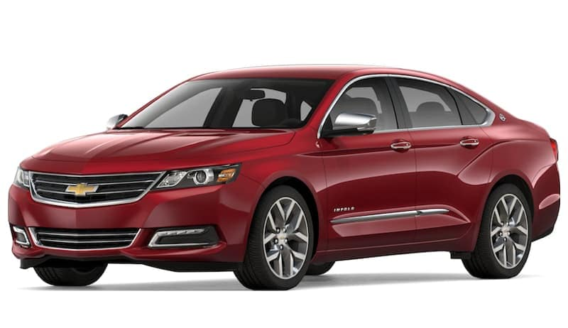 Red 2019 Chevy Impala on white