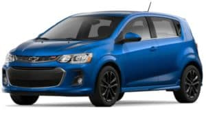 Blue 2019 Chevy Sonic on white