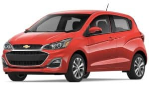 A red 2019 Chevy Spark on white