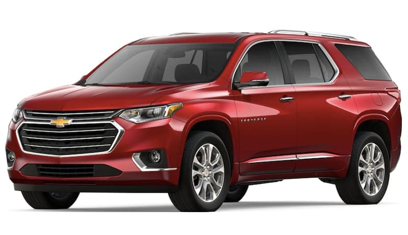 Red 2019 Chevy Traverse on white