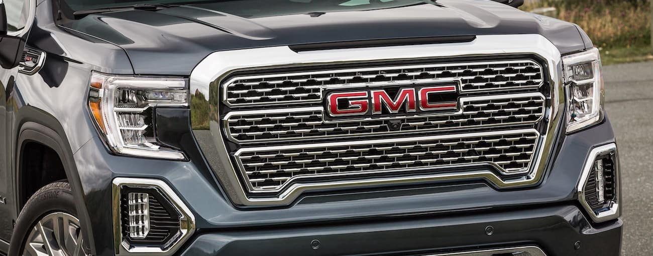 A closeup of a gray 2019 GMC Sierra Denali grille