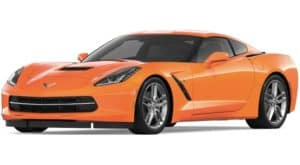 An orange 2019 Chevy Corvette Stingray facing left on white
