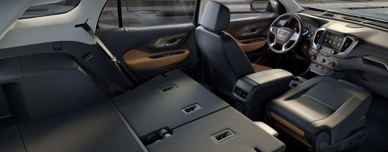The versatile interior of the 2019 GMC Terrain with the seats folded down