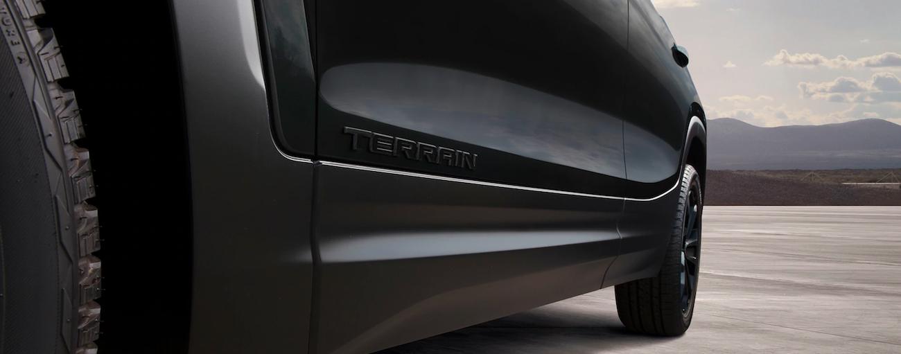 A closeup of the black side badging on a Terrain after winning 2019 GMC Terrain vs 2019 Jeep Cherokee