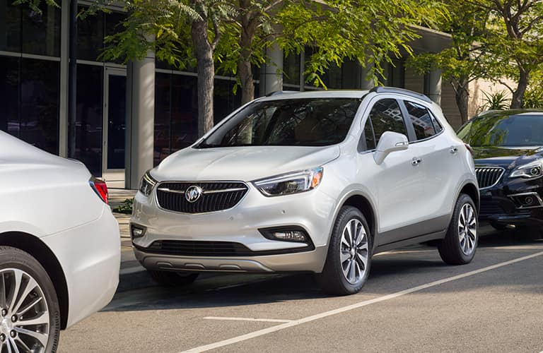 silver 2019 Buick Encore parked on side of street