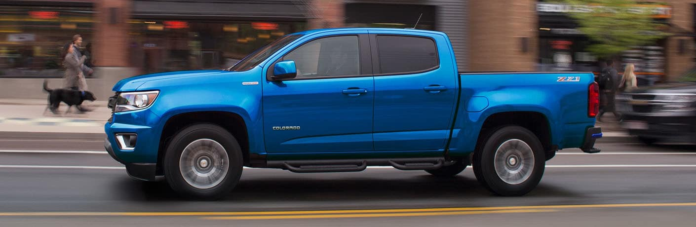 side profile of blue 2019 Chevy Colorado