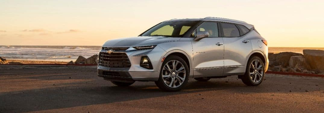 silver 2019 Chevy Blazer parked by water