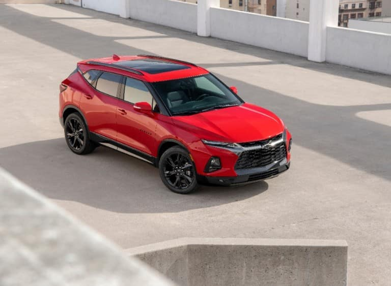 2019 Chevy Blazer parked in a parking garage