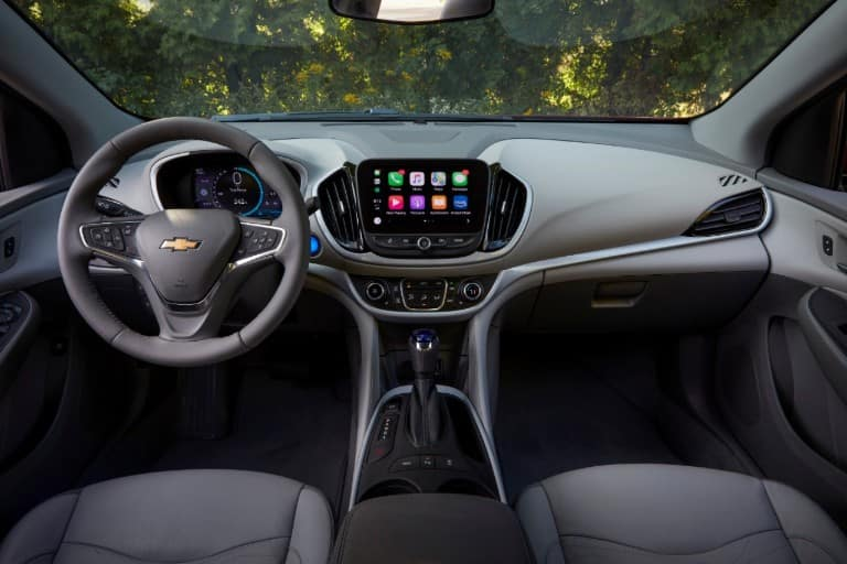 Steering wheel and dashboard in the 2019 Chevy Volt