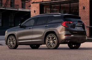 2019 GMC Terrain parked outside a large building