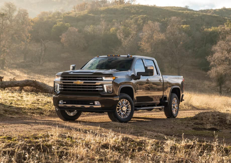 A 2020 Chevrolet Silverado 2500HD High County parked in a field on a fall day