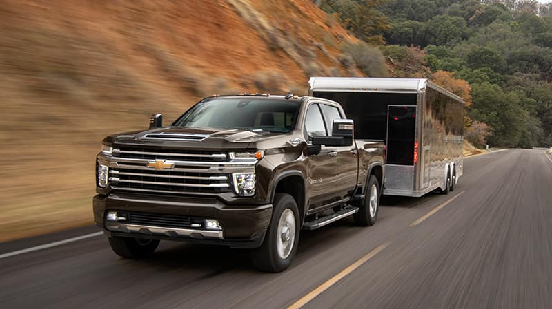 2020 Chevrolet Silverado HD Pulling a Trailer